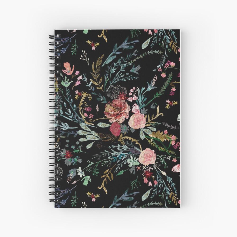 Midnight Floral Spiral Notebook
