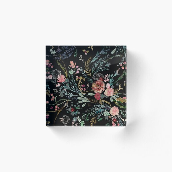 Midnight Floral Acrylic Block