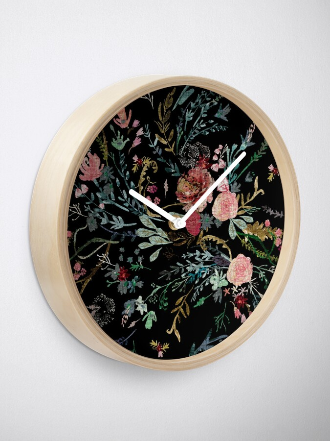 Alternate view of Midnight Floral Clock