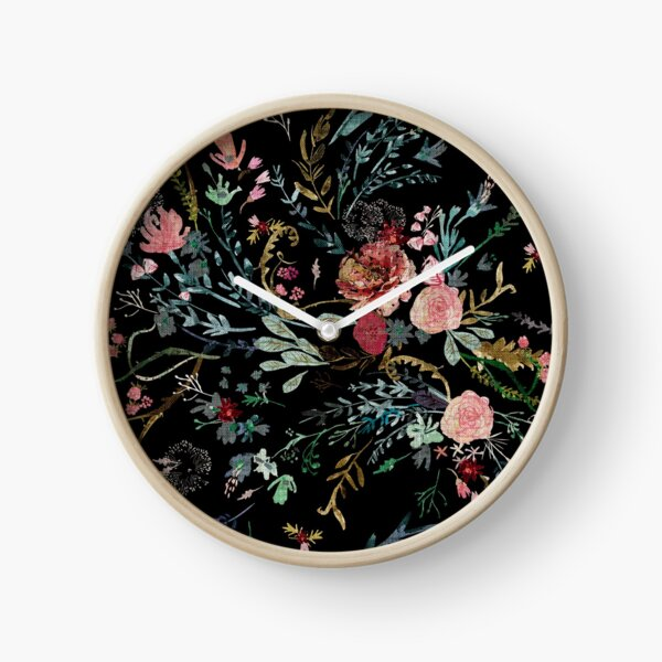 Midnight Floral Clock