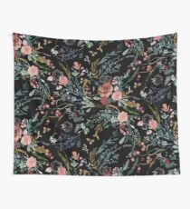 Midnight Floral Wall Tapestry