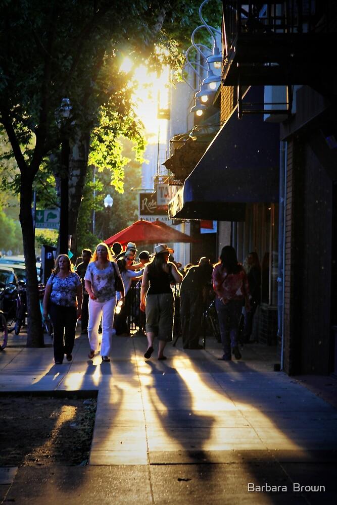Downtown Saturday Night by Barbara  Brown