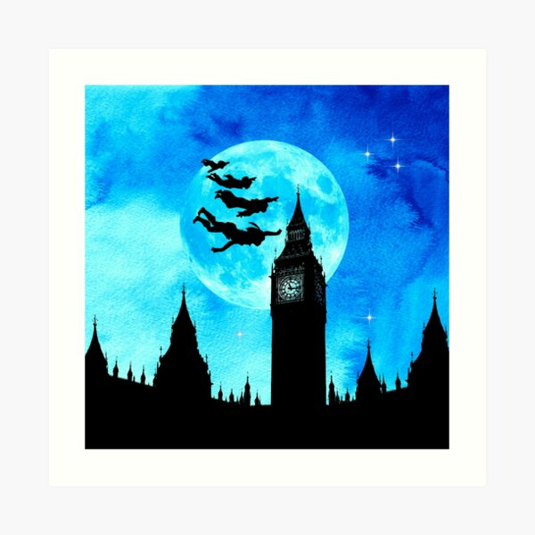 Magical Watercolor Night - Peter Pan Art Print