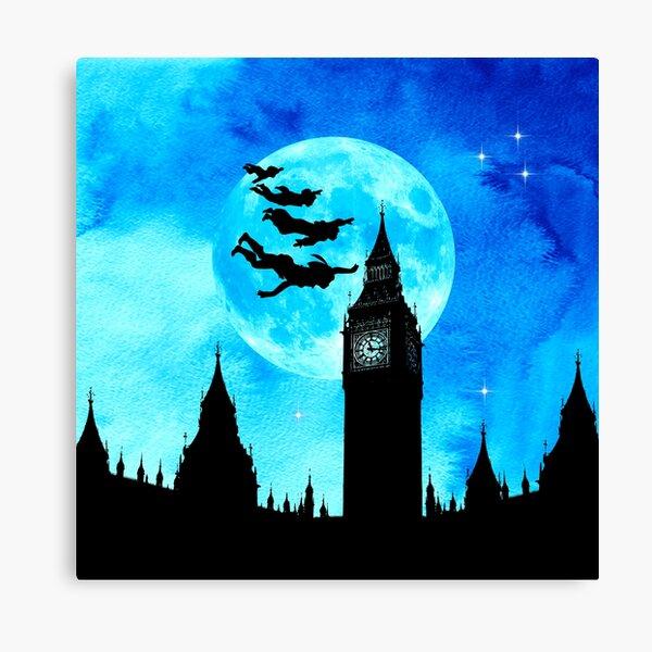 Magical Watercolor Night - Peter Pan Canvas Print