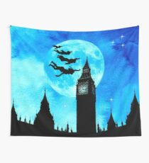 Magical Watercolor Night - Peter Pan Wall Tapestry