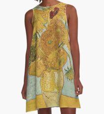 Sonnenblumen Van Gogh A-Linien Kleid