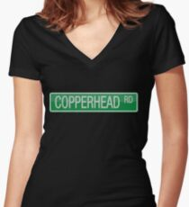 008 Copperhead Road street sign Women's Fitted V-Neck T-Shirt