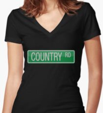 009 Country Road streets sign Women's Fitted V-Neck T-Shirt