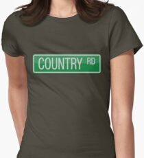 009 Country Road streets sign Womens Fitted T-Shirt