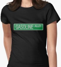 019 Gasoline Alley road sign Womens Fitted T-Shirt