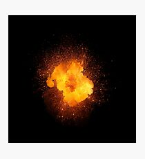 Realistic fiery explosion, orange color with sparks isolated on black background Photographic Print