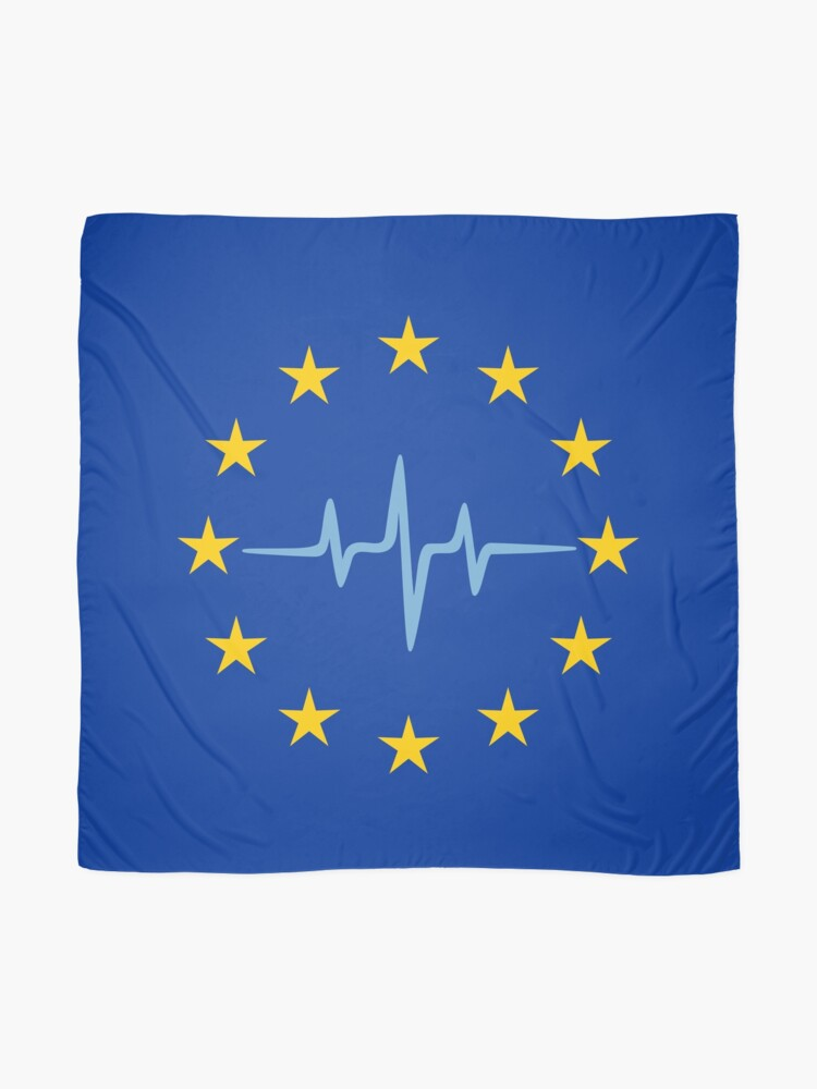 Alternate view of Pulse of Europe, heartbeat, EU stars, flag, European Union, frequency Scarf