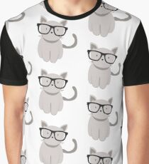 Hipster Cat in Hipster Glasses Graphic T-Shirt