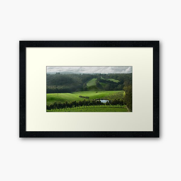 Adelaide Hill's in Green. Framed Art Print