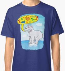 Anxious polar bear saying bad words when standing on a tiny piece of ice Classic T-Shirt