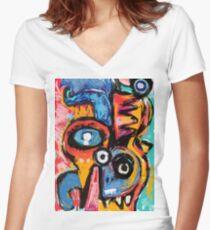 The king of snake Street Art Graffiti Women's Fitted V-Neck T-Shirt