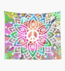 Peace & Good Vibes Psychedelic Hippy Mandala Design Wall Tapestry
