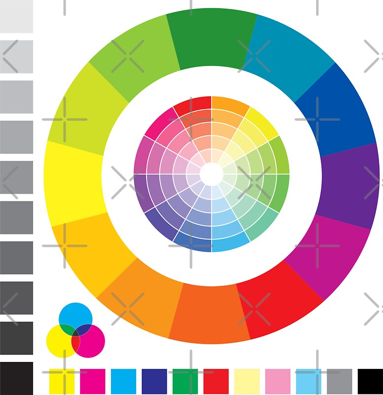 Color Wheel Chart Print Tester Stickers By Spacealientees  Redbubble