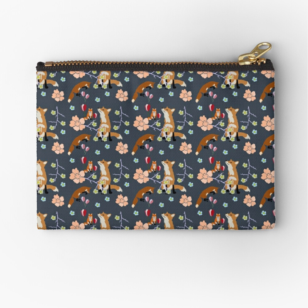 Fox in flowers Zipper Pouch