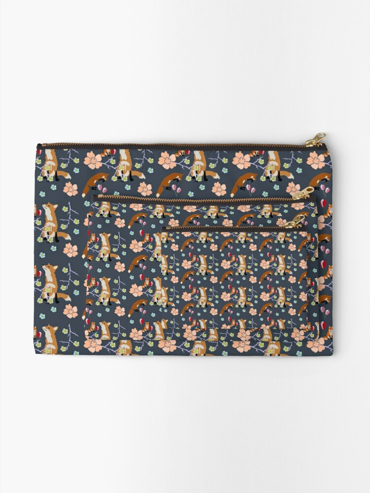 Alternate view of Fox in flowers Zipper Pouch