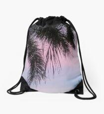 Precious Pink Palm  Drawstring Bag