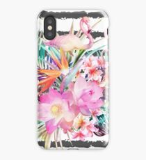 Tropical floral leaves and flamingos stripes iPhone Case