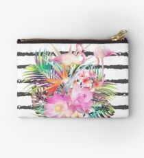 Tropical floral leaves and flamingos stripes Studio Pouch