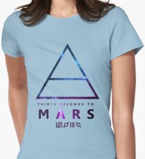 30 Seconds To Mars Galaxy White Womens Fitted T-Shirt