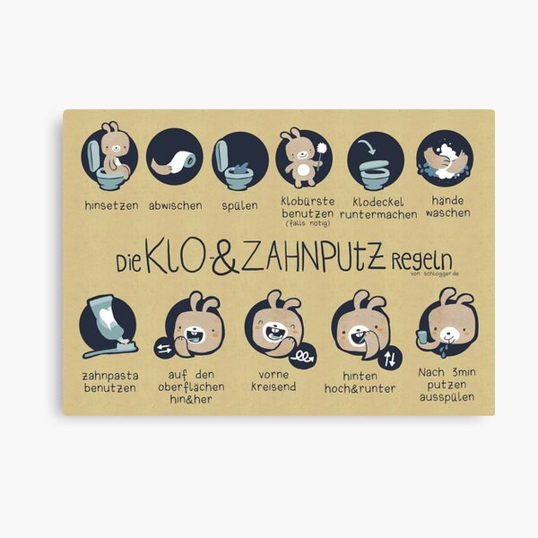 Loo and toothbrushing rules for children Canvas Print