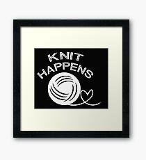 Knit Happens funny knitting  Framed Print