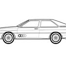 Quattro Sports Coupe Outline Drawing by RJWautographics
