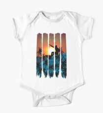Tropical Island Sunset Surfing One Piece - Short Sleeve
