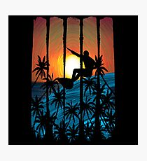 Tropical Island Sunset Surfing Photographic Print