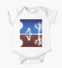Abstract background with white silhouettes Kids Clothes