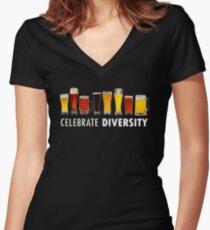 Celebrate Beer Diversity Funny Women's Fitted V-Neck T-Shirt