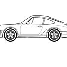 911 Turbo outline drawing by RJWautographics