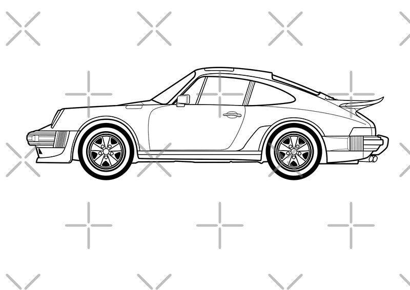 u0026quot 911 turbo outline drawing u0026quot  photographic prints by