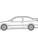 Ford Sierra RS Cosworth Outline drawing by RJWautographics