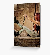 Aggressive Young woman of 24 with a Samurai Sword  Greeting Card