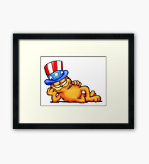 Garfield 4th July, Indepenence Day, 80s retro cartoon Framed Print