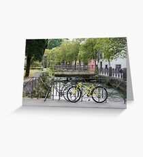 Bicycles by the river Greeting Card