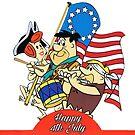 Die Feuersteine, 4. Juli, AmerIcan Indepence Day, Karikatur von RainbowRetro
