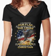 I Stand For Our Flag I Kneel For The Cross American Christian Women's Fitted V-Neck T-Shirt