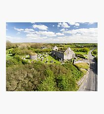Aerial view of a beautiful old ruins of an Irish church  Photographic Print