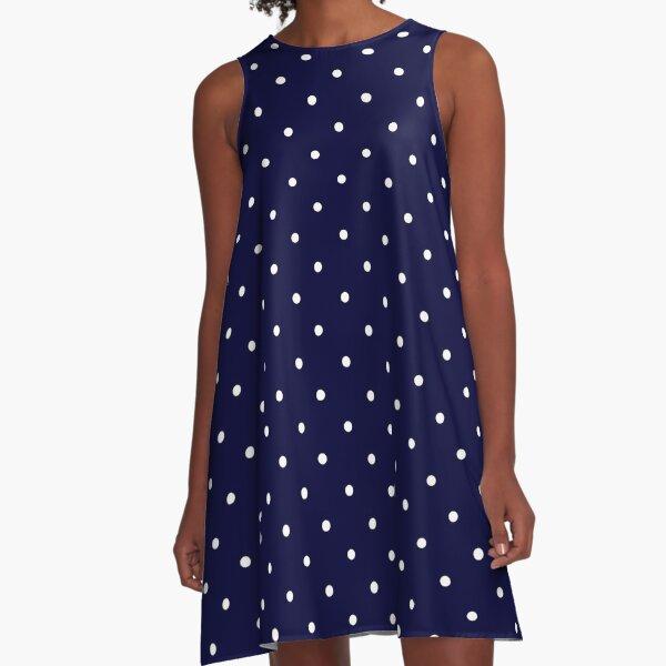 Navy Blue White Polka Dots A-Line Dress