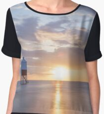 Sunset at the Lower Lighthouse at Burnham on Sea Women's Chiffon Top