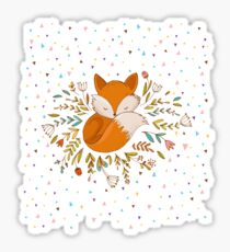 Cute Fox Flowers and Triangles Sticker