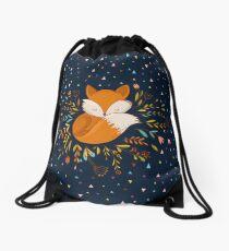 Cute Fox Flowers and Triangles Drawstring Bag