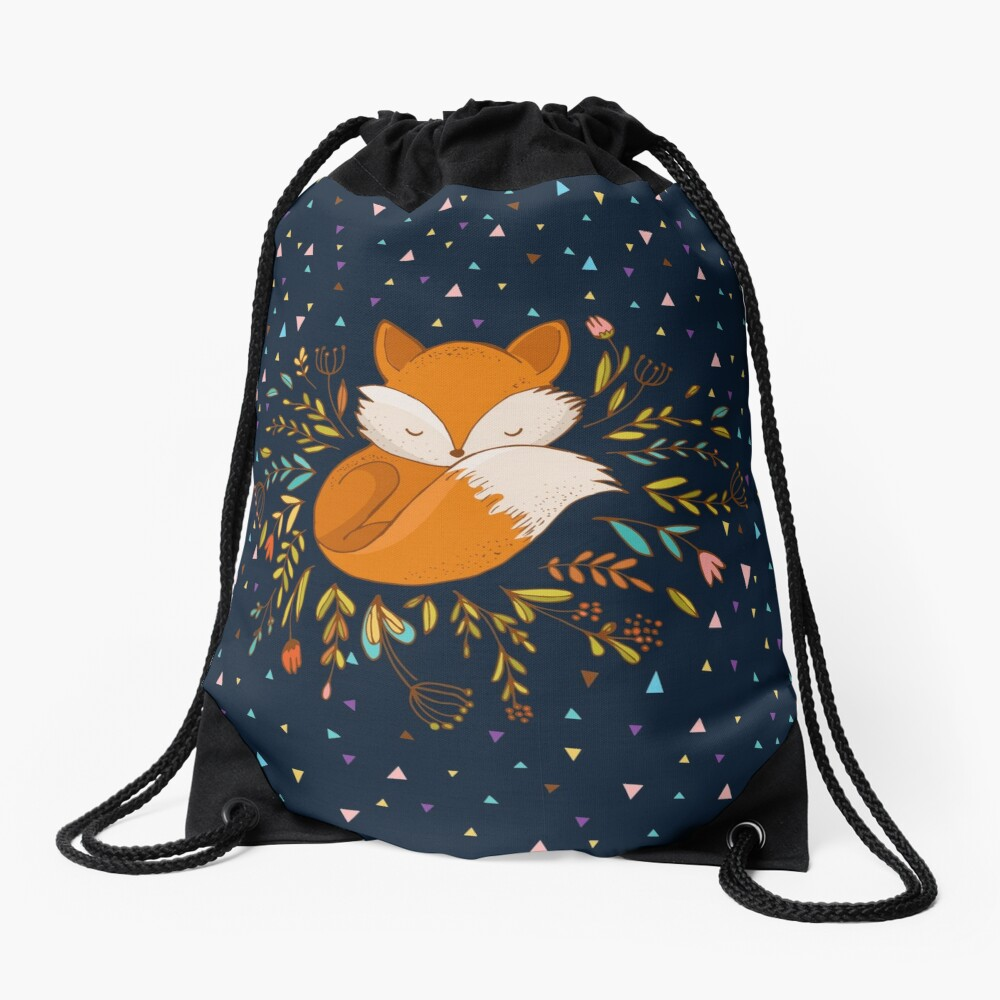 Cute Fox Flowers and Triangles Drawstring Bag