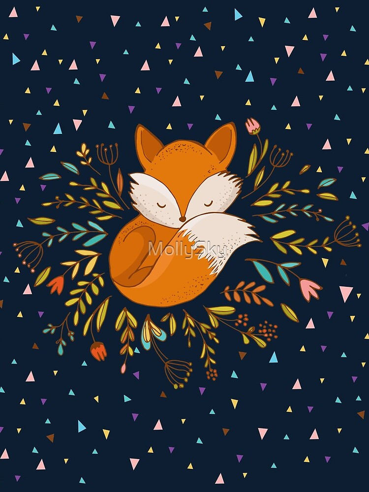 Cute Fox Flowers and Triangles by MollySky